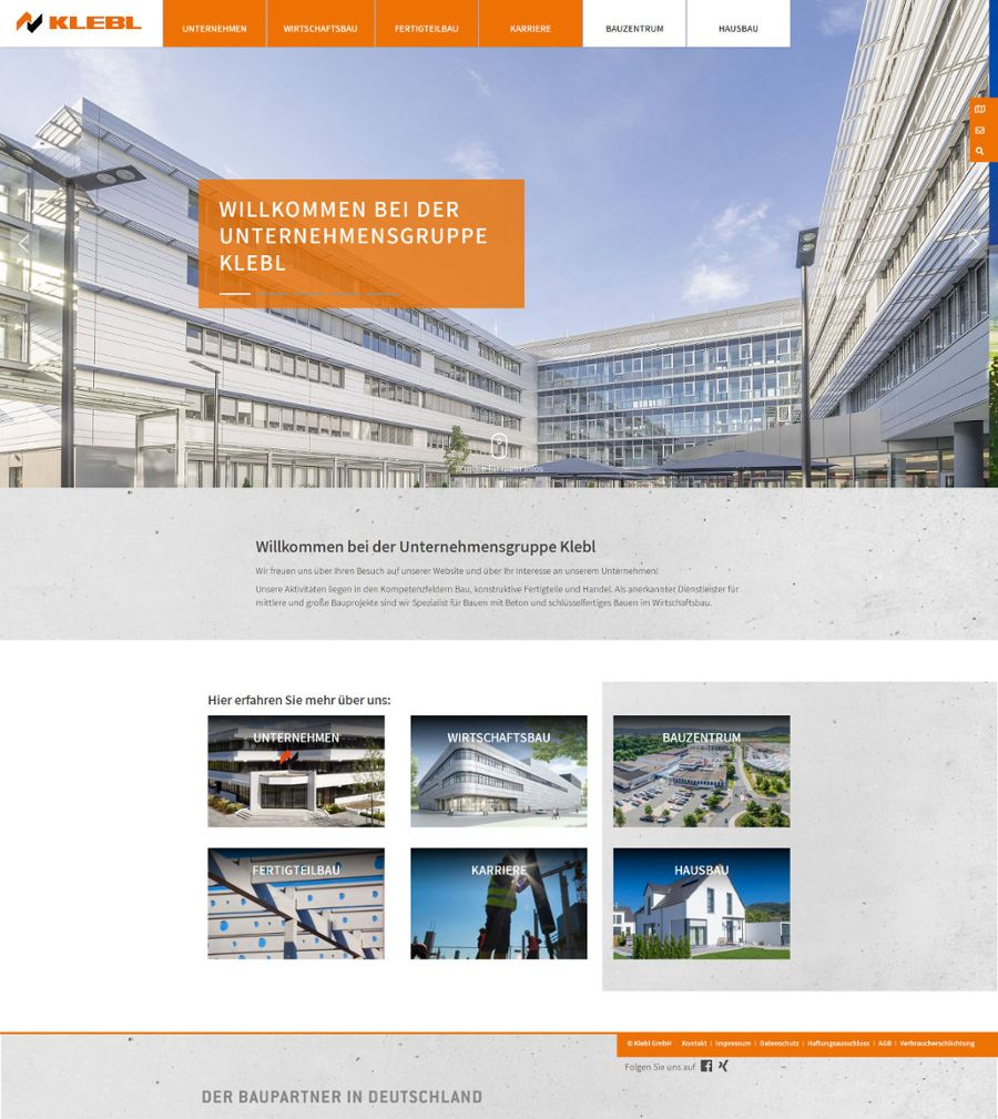 klebl.de: Modern, großzügig und responsiv