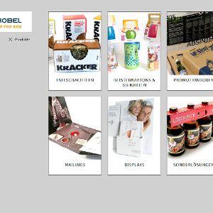Das Zusatzmenü präsentiert die Produkte hervorgehoben.