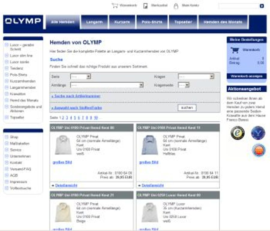 Olymp-Hemdenshop geht online