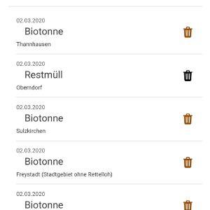 Mit der App alle Müllabfuhr-Termine im Blick, nach Gebieten filterbar