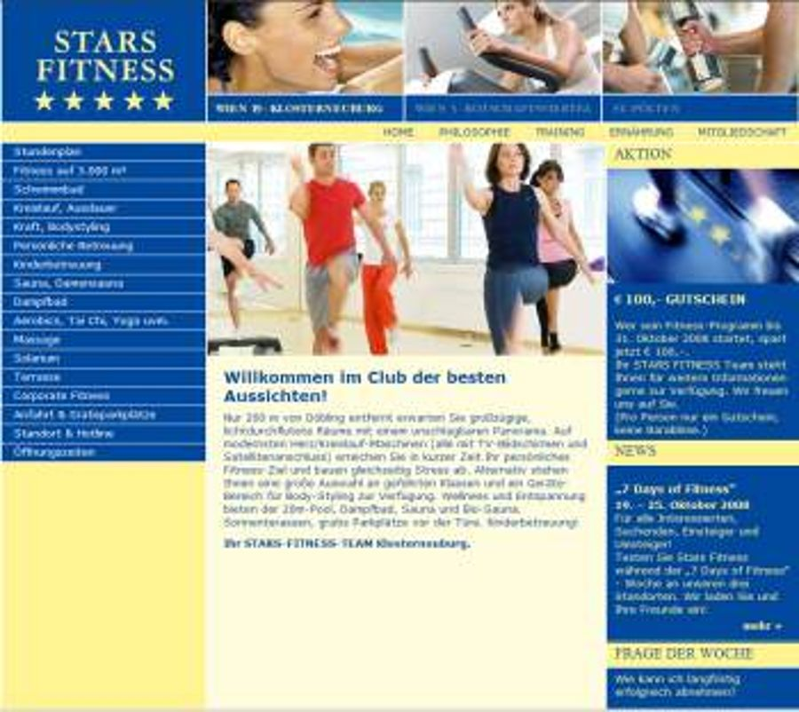 Starsfitness.at in Wien geht online