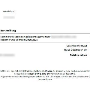 """Eine EDC-Rechnung für """"Kommerziell Rechte an geistigem Eigentum"""""""