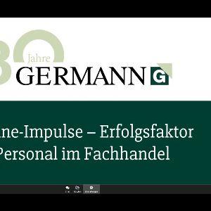 Screenshot von Erwin Germann während des Online-Events zum 30. Firmenjubiläum (Quelle: GERMANN Vertrieb & Personal/Visavid)